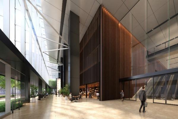 虎ノ門二丁目地区第一種市街地再開発事業 業務棟 1階エントランスロビーイメージパース