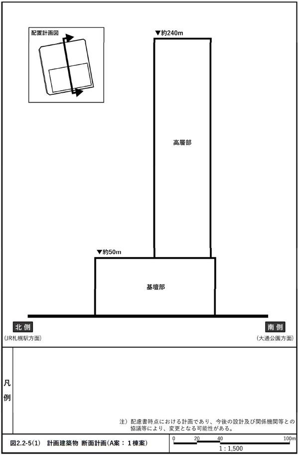 札幌駅南口北4西3地区第一種市街地再開発事業 A案