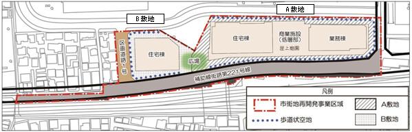 囲町東地区第一種市街地再開発事業 配置図