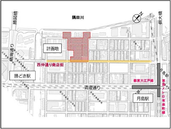 月島三丁目北地区第一種市街地再開発事業 地区周辺図