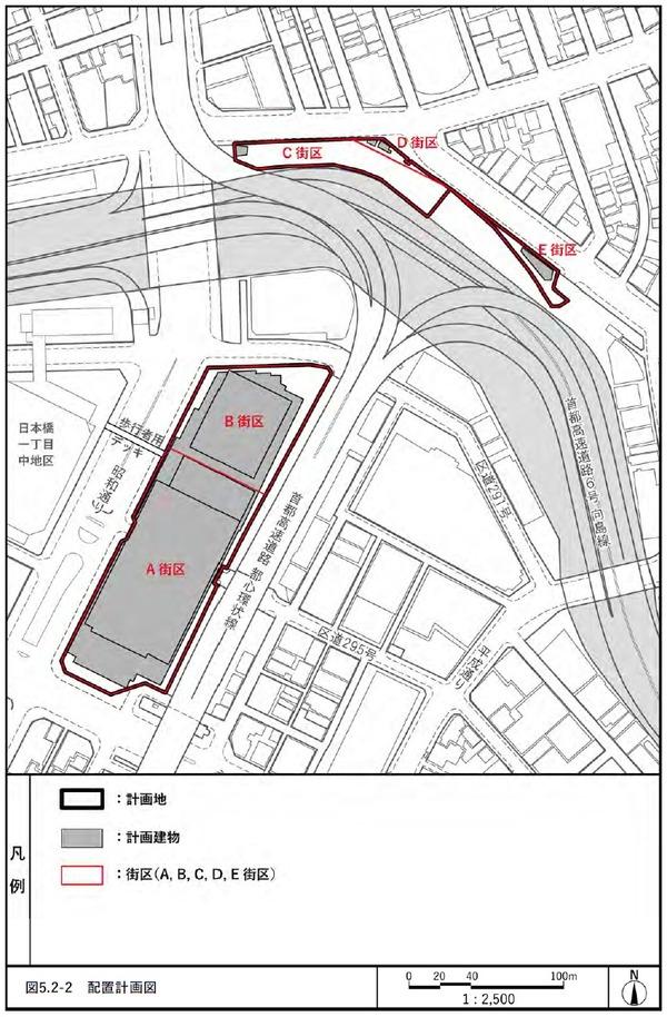 日本橋一丁目東地区第一種市街地再開発事業 配置計画図