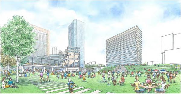 (仮称)神宮外苑地区市街地再開発事業 緑化のイメージ(広場)