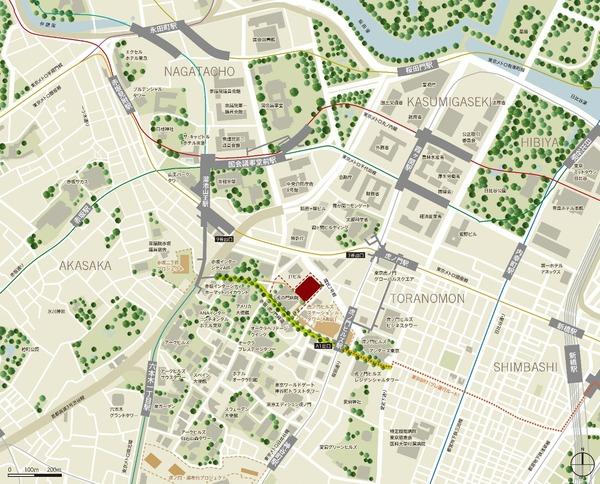 虎ノ門二丁目地区第一種市街地再開発事業 業務棟 位置図