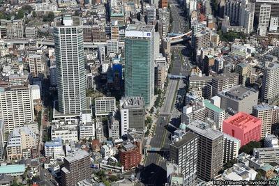 (仮称)港区高輪1丁目計画の計画地の空撮