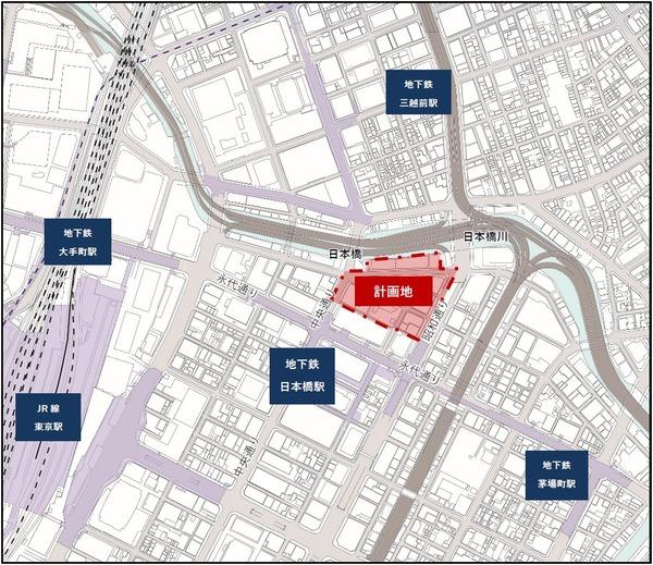日本橋一丁目中地区第一種市街地再開発事業 位置図