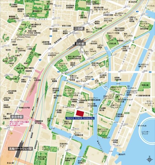 プラウドタワー芝浦 位置図