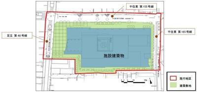 千住一丁目地区第一種市街地再開発事業 配置図
