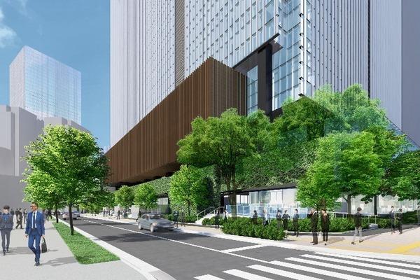 虎ノ門二丁目地区第一種市街地再開発事業 業務棟 低層部外観イメージパース