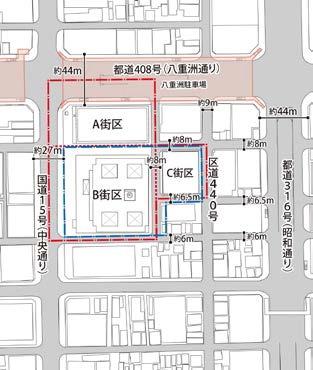 京橋一丁目東地区の配置図