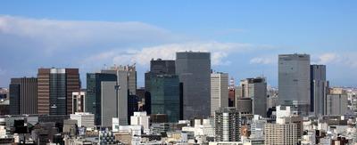 勝どきビュータワーから見た東京駅周辺の超高層ビル群