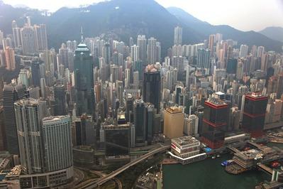 空撮 香港超高層ビル群