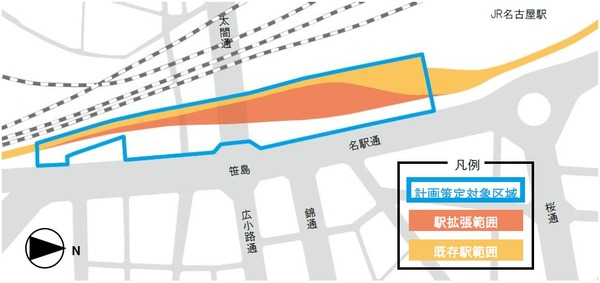 名鉄 名古屋駅地区再開発 駅拡張範囲イメージ