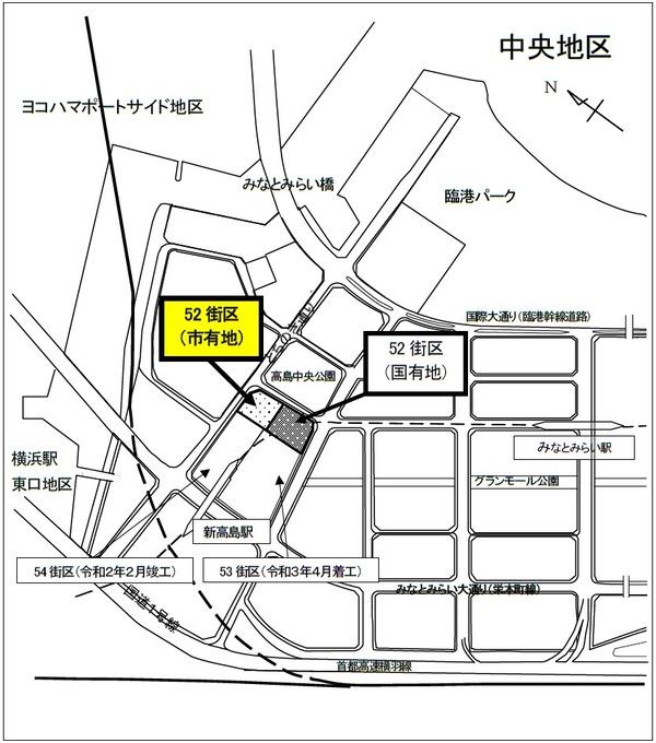 みなとみらい21中央地区52街区 位置図