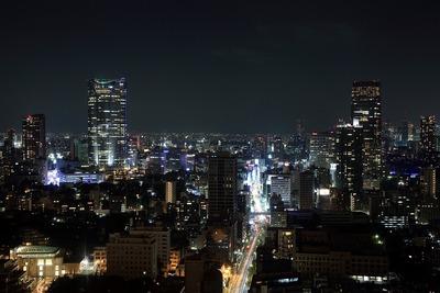 東京タワーから六本木ヒルズ、東京ミッドタウン方面の夜景