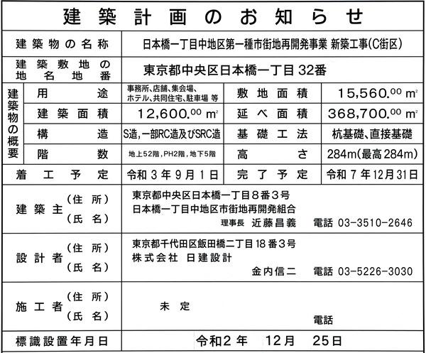日本橋一丁目中地区第一種市街地再開発事業(C街区) 建築計画のお知らせ