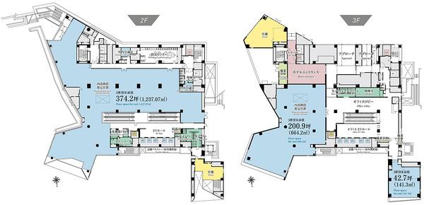 (仮称)渋谷区道玄坂二丁目開発計画 2、3階平面図