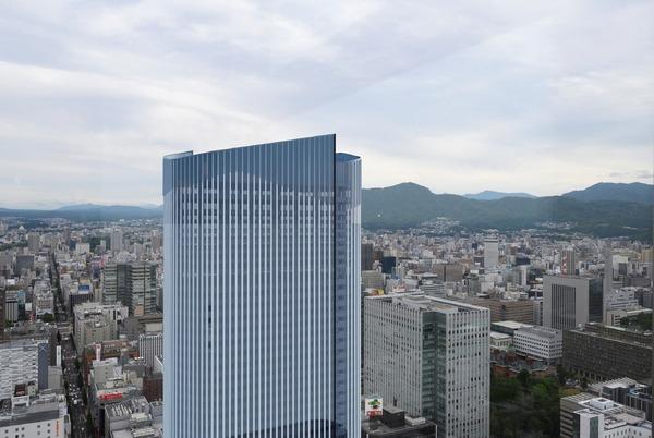 (仮称)札幌駅南口北4西3地区第一種市街地再開発事業 JRタワー展望室から見た完成予想図