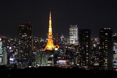 勝どきビュータワーから東京タワーの夜景