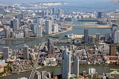 飛行船から晴海・豊洲方面の空撮