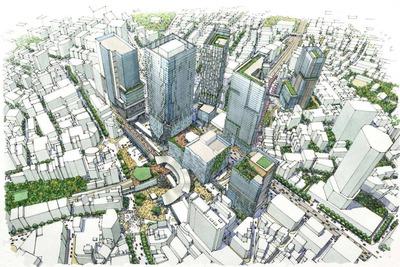 渋谷駅周辺の再開発計画の完成イメージ