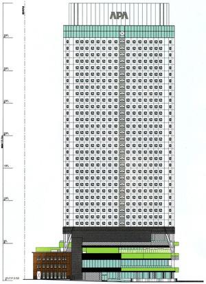 アパホテル&リゾート〈横浜ベイタワー〉 立面図(北側)
