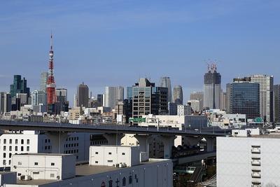 レインボーブリッジから見た東京タワーと環二・�街区