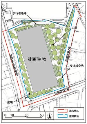 大井一丁目南第1地区第一種市街地再開発事業の配置図