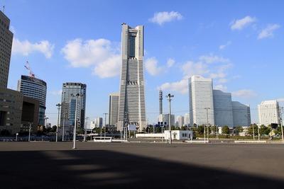 横浜市の新市庁舎の建設予定地からの眺め