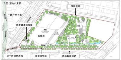 赤坂一丁目地区第一種市街地再開発事業の配置図