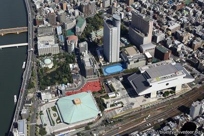 アパホテル&リゾート<両国駅タワー> 建設地の空撮