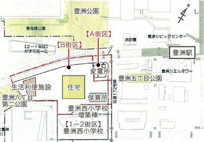 豊洲地区1-1街区 位置図