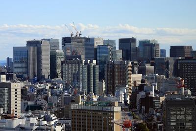 文京シビックセンターから見た大手町・丸の内の超高層ビル群