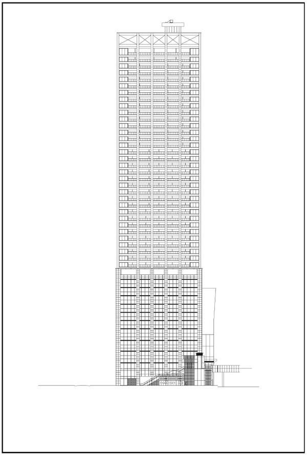浜松町二丁目地区第一種市街地再開発事業 南側立面図
