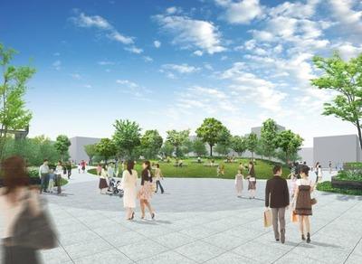 四谷駅前再開発事業 北西側の広場