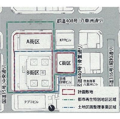 京橋一丁目東地区の街区図