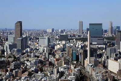 恵比寿ガーデンプレイスから見た渋谷駅方面の眺め