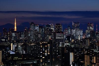 トワイライトタイムの東京タワーと超高層ビル群