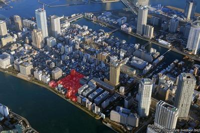 月島三丁目地区第一種市街地再開発事業の計画地の空撮