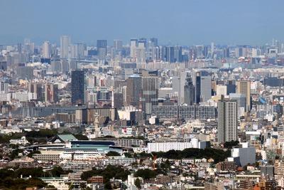 横浜ランドマークタワーから見た川崎方面の超高層ビル群