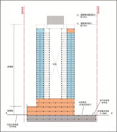 アパホテル&リゾート〈横浜ベイタワー〉新築工事の断面図