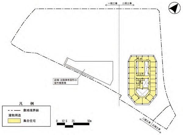 東金町一丁目西地区市街地再開発事業 建物平面図(地上7階)