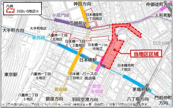 日本橋一丁目東地区第一種市街地再開発事業 位置図