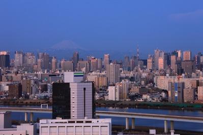 夜明けの東京夜景と富士山