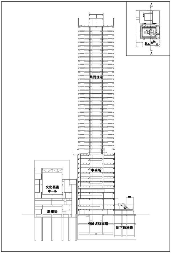 浜松町二丁目地区第一種市街地再開発事業 断面図(A断面)
