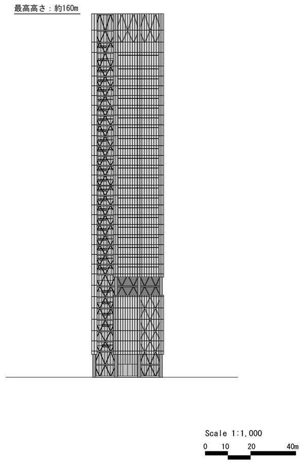 (仮称)赤坂二丁目計画 東側立面図