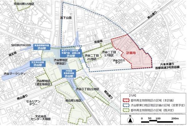 渋谷二丁目西地区第一種市街地再開発事業 位置図