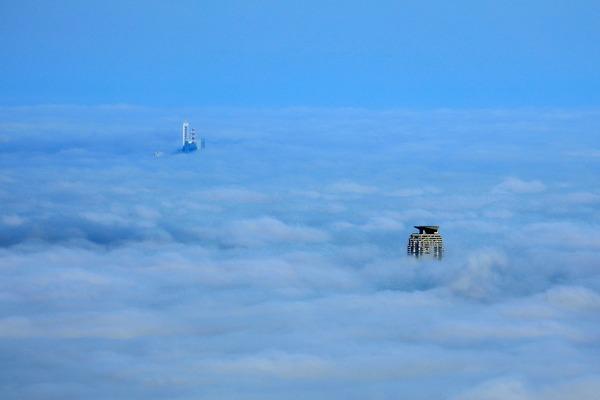 東京スカイツリーから見た雲海とエルザタワー55