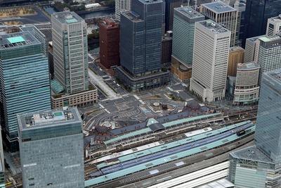 東京駅丸の内駅前の空撮