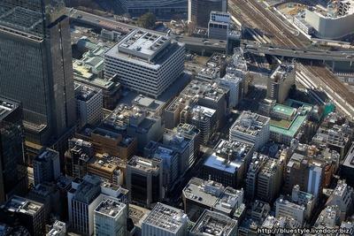 日本橋室町三丁目地区第一種市街地再開発事業の建設地の空撮