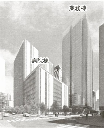 (仮称)虎ノ門二丁目計画の完成予想図